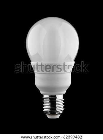 frosted energy saving light bulb isolated on black - stock photo