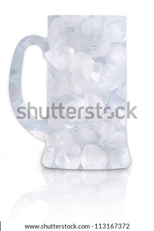 Frosty beer glass full of ice isolated on a white background. beer glass made of ice - stock photo