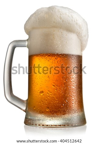 Frosty beer in mug - stock photo