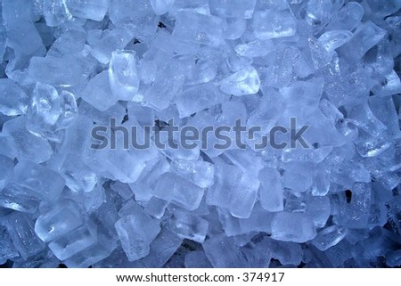 Frosty blue ice cubes - stock photo