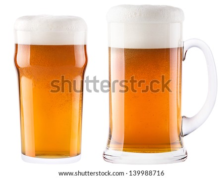 Frosty fresh beer with foam isolated background