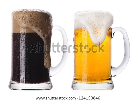 Frosty glass of light and dark beer set isolated on a white background - stock photo