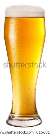 Frosty glass of light beer isolated on a white background. File contains a path to cut. - stock photo