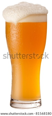 Frosty glass of unfiltered beer isolated on a white background. File contains a path to cut. - stock photo