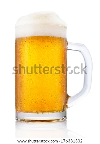Frosty mug of beer isolated on white background - stock photo