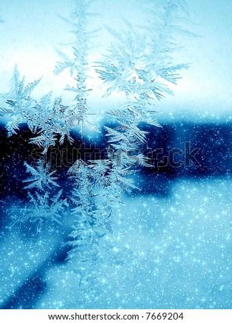 Frosty pattern on winter window - stock photo