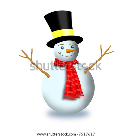 Frosty the snowman wearing a top hat