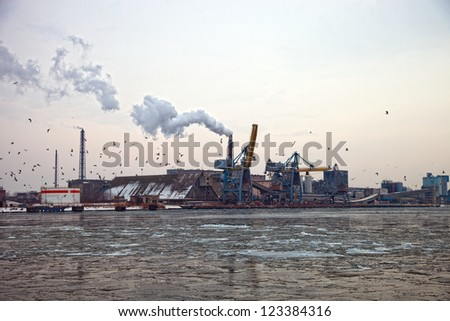 Frosty winter day in the port of Gdansk, Poland. - stock photo