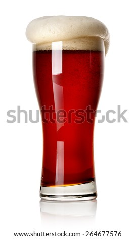 Froth on red beer isolated on white - stock photo