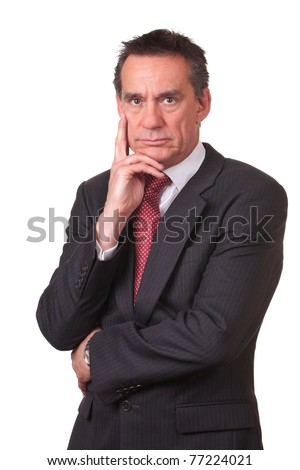 Frowning Angry Middle Age Business Man in Suit - stock photo
