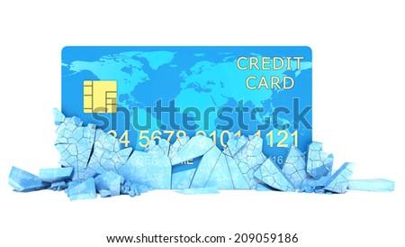 Frozen Bank Account Concept. Credit Card in Broken Solid Ice Block - stock photo