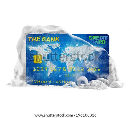 Frozen Bank Account Concept. Credit Card in Broken Solid Ice Block isolated on white background  - stock photo