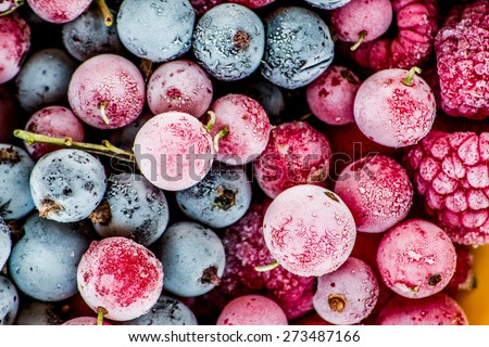 frozen berries, black currant, red currant, raspberry, blueberry. top view. macro - stock photo