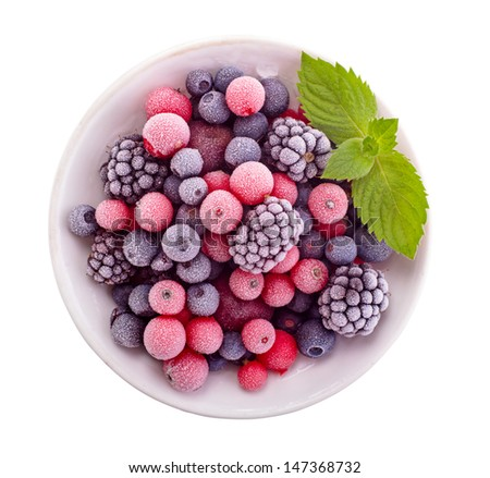 Frozen berry isolated top view - stock photo