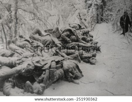Frozen bodies of dead Soviet (Russian) soldiers killed in the Russo-Finnish War. Ca. Nov. 1939-March 1940. World War 2. - stock photo