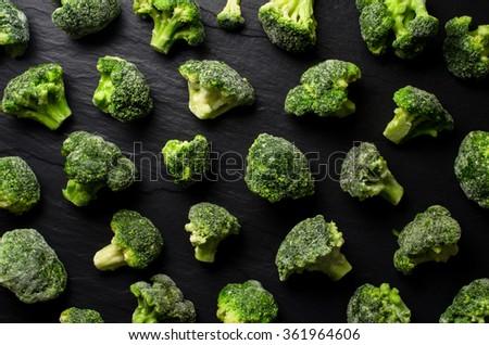 Frozen broccoli background - stock photo