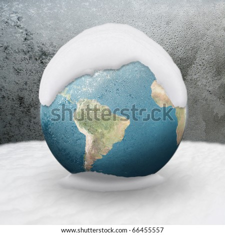 Frozen Earth covered by snow