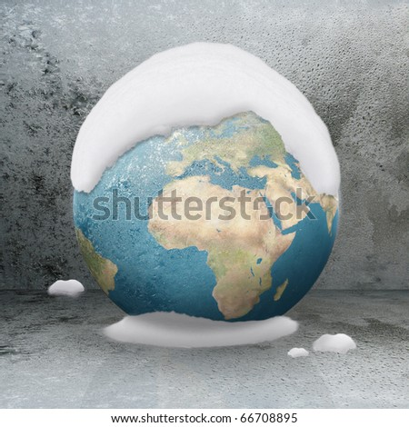 Frozen Earth Covered by snow ( Europe close up) - stock photo
