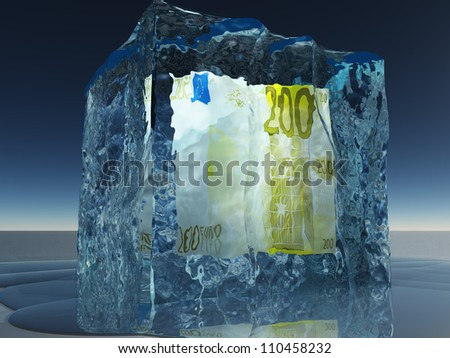 Frozen 200 Euro Note - stock photo