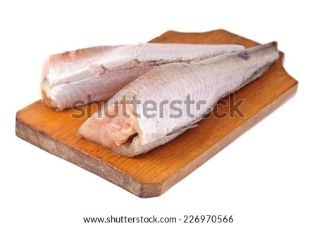 frozen fish hake isolation on white - stock photo