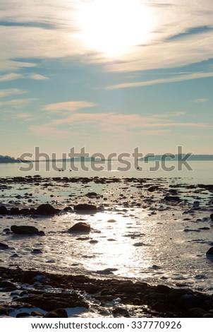 Frozen fjord in scandinavian winter sunshine, Norway - stock photo