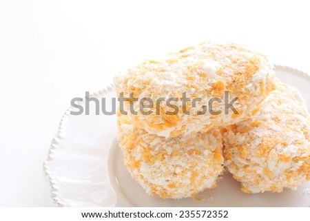 Frozen food, Bechamel croquette on white dish for food preparing image - stock photo