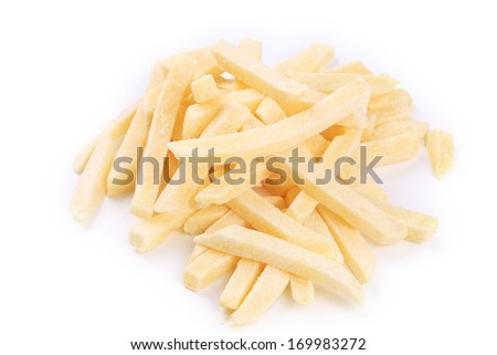 Frozen french fries. Isolated on a white background. - stock photo