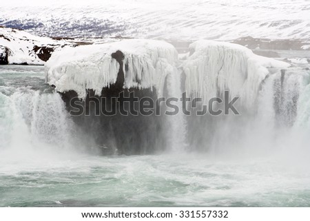 Frozen Icelandic waterfall - Godafoss