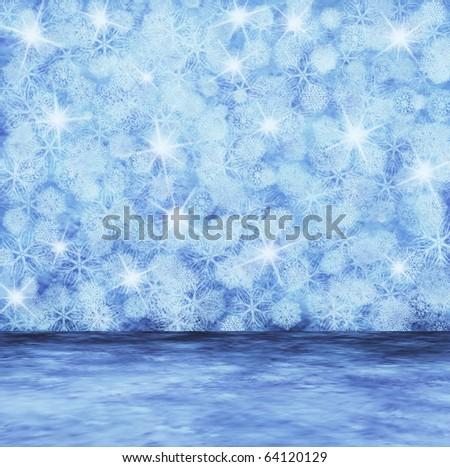 frozen interior, christmas background - stock photo