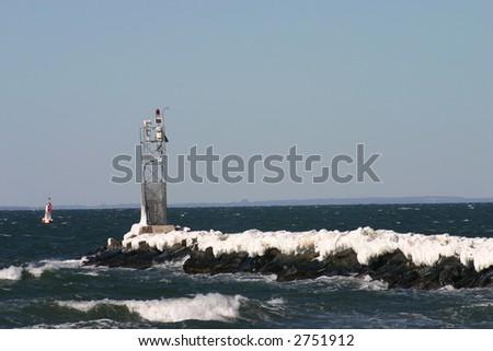 Frozen jetty - stock photo