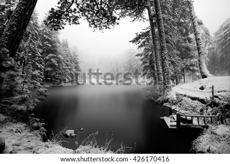 Frozen lake and cottage - stock photo
