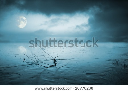 Frozen lake in moonlight - stock photo