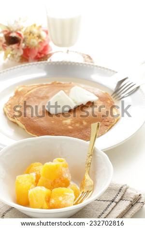 frozen mango and pan cake breakfast  - stock photo