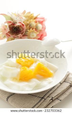 frozen mango and Yogurt for healthy food image - stock photo