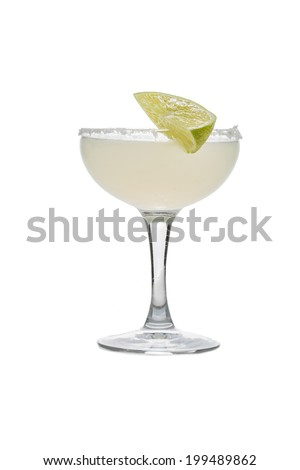 Frozen margarita cocktail isolated on white background - stock photo