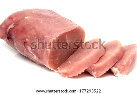 frozen meat on a white background - stock photo