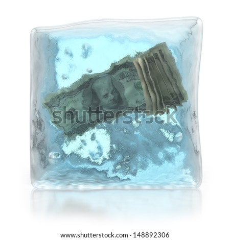 frozen money deposits concept - stock photo