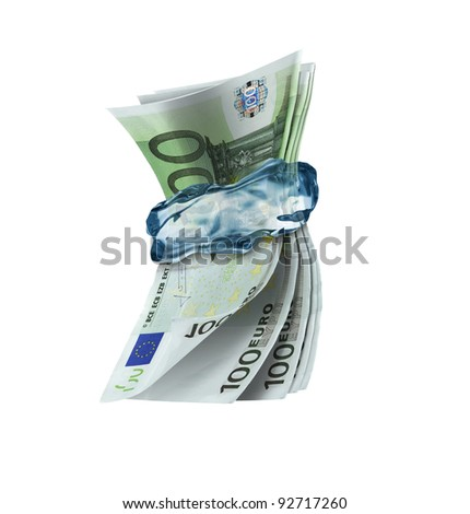 frozen money - frozen finance - stock photo