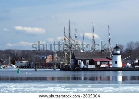 Frozen Mystic Seaport - stock photo