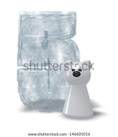 frozen number five and polar bear - 3d illustration - stock photo