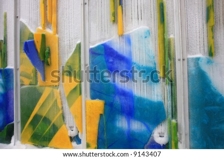 Frozen Panels of Colored Ice Looks Like Paintings Below Zero, Millennium Park, Chicago - stock photo