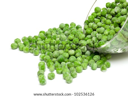 frozen peas isolated on white background - stock photo