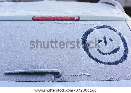 Frozen rear window - stock photo