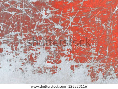 Frozen red painted grunge metal, background - stock photo