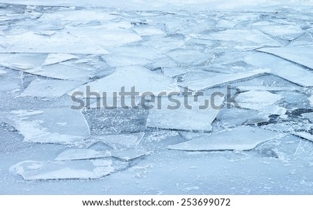 Frozen river ice background - stock photo