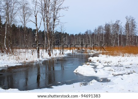 frozen river in the forest - stock photo