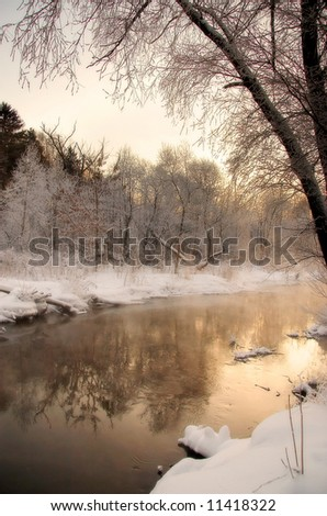 Frozen river landscape - stock photo