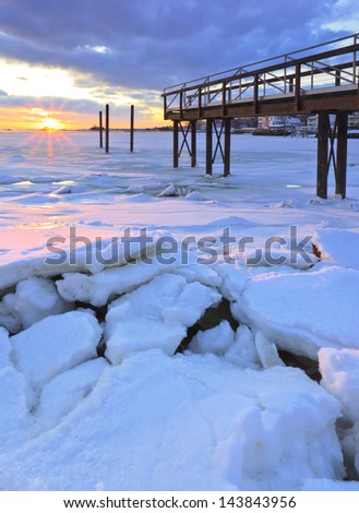 Frozen Sea at Stony Creek Connecticut  - stock photo