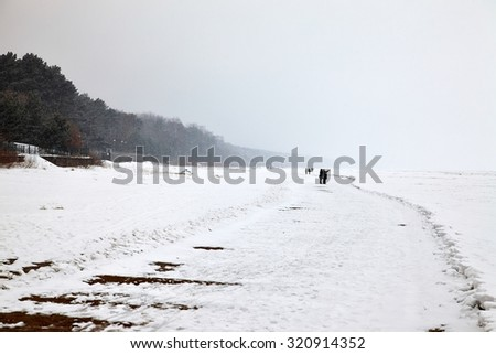 Frozen sea in cold winter weather - stock photo