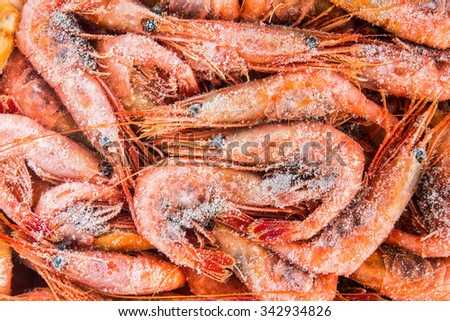 frozen shrimp in a box